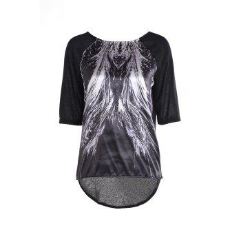 Stylish 3/4 Sleeve Round Collar Feather Print Women's T-Shirt