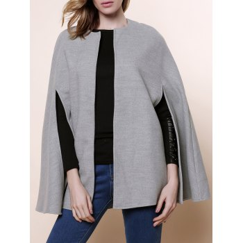 Stylish Round Neck Long Sleeve Asymmetrical Solid Color Women's Coat