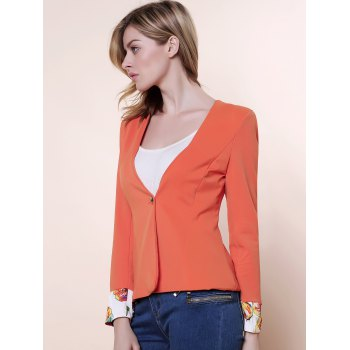 Shoulder Pad Cuff Flower Slimming Short Blazers - JACINTH L