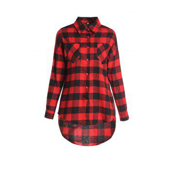 Stylish Shirt Collar Long Sleeve Asymmetrical Plaid Women's Shirt