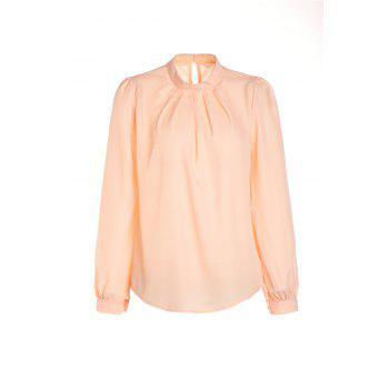Simple Stand Collar Solid Color Long Sleeve Women's Chiffon Blouse