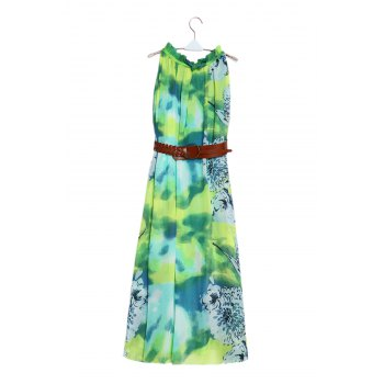 Charming Ruffled Collar Sleeveless Floral Print Women's Maxi Beach Dress