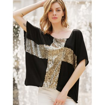 Women's Leisure Cross Sequins Decor Low Round Neck Loose T-shirt