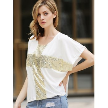 Women's Leisure Cross Sequins Decor Low Round Neck Loose T-shirt - WHITE WHITE