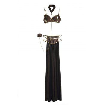 Sexy Spaghetti Strap Sleeveless Spliced High Slit Women's Dancewear - BROWN ONE SIZE(FIT SIZE XS TO M)