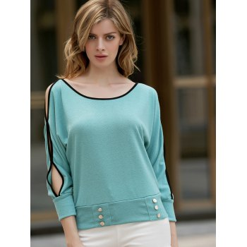 Stylish Scoop Neck Batwing Long Sleeve Necklace Embellished Women's T-Shirt - GREEN