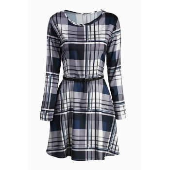 Refreshing Plaid Printed Long Sleeve Belted Mini Dress For Women