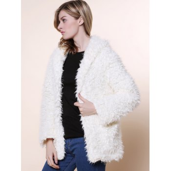 Cute Bear Ear Design Hooded Long Sleeves Women's White Faux Fleece Coat - WHITE M