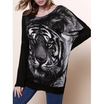 Women's Hoodies Embroidered Tiger Head Pullovers Sweater