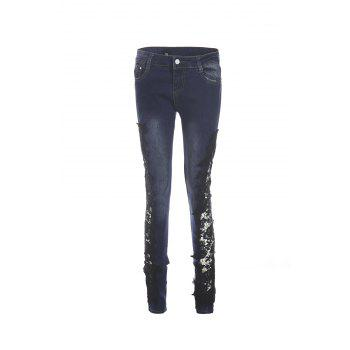 Fashionable Crochet Flower Splicing Women's Jeans