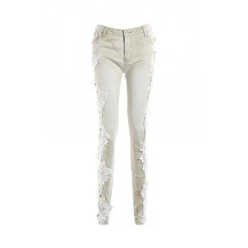Casual Women's Lace Splicing Skinny Jeans - LIGHT APRICOT L