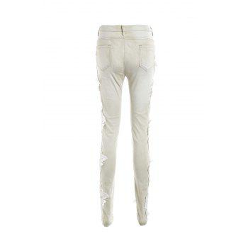 Casual Women's 's Lace Splicing Skinny Jeans - Abricot Clair XL