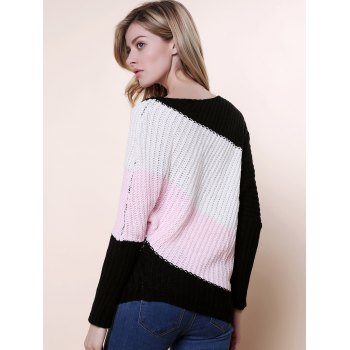 Sweet Style Batwing Sleeve Scoop Neck Color Stripe Knitting Women's Sweater - PINK ONE SIZE