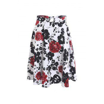 Vintage Style High-Waisted A-Line Floral Print Women's Skirt - S S