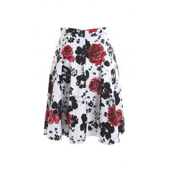 Vintage Style High-Waisted A-Line Floral Print Women's Skirt - RED WITH WHITE S