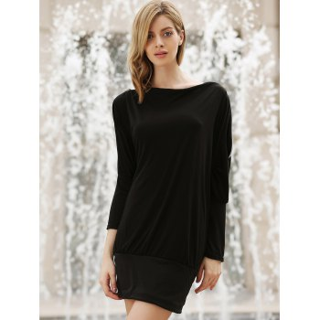 Charming Boat Neck Solid Color Zipper Embellished Long Sleeve Cotton Blend Women's T-Shirt - ONE SIZE ONE SIZE
