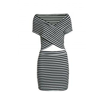 Sexy Short Sleeve Bodycon Striped T-Shirt+Sheathy Skirt Twinset For Women