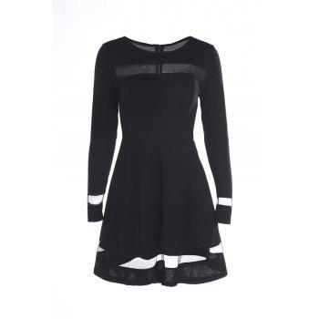 Stylish Round Neck Long Sleeve Voile Spliced A-Line Women's Dress
