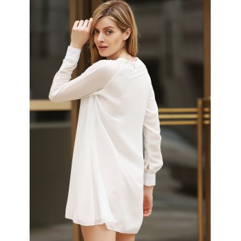 Flounce Long Sleeve Chiffon Shift Dress - ONE SIZE ONE SIZE
