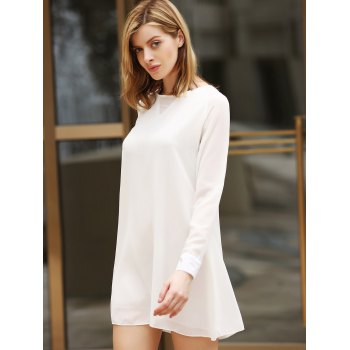 Flounce Long Sleeve Chiffon Shift Dress - WHITE WHITE