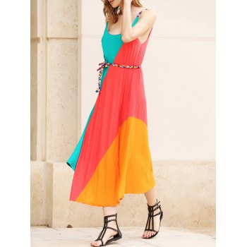 Colorful Slant Stripe Print Irregular Hem Summer Long Dress With Belt For Women