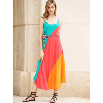 Colorful Slant Stripe Print Irregular Hem Summer Long Dress With Belt For Women - AS THE PICTURE ONE SIZE