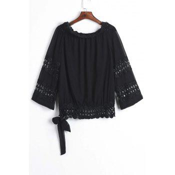Stylish Long Sleeve Boat Neck Hollow Out Solid Color Women's Blouse - BLACK L