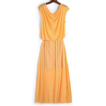 Trendy Skew Neck Solid Color Wrapped Gauze Maxi Dress For Women