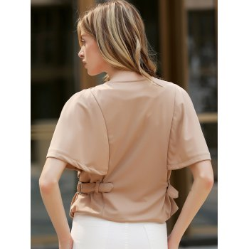 Stylish Round Neck 1/2 Sleeve Solid Color Slimming Zippered Women's Jacket - KHAKI KHAKI