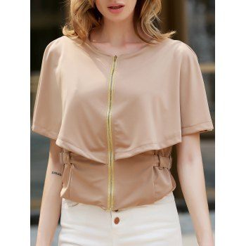 Stylish Round Neck 1/2 Sleeve Solid Color Slimming Zippered Women's Jacket