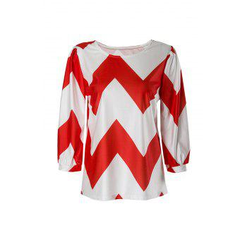 Trendy Chevron Printed 3/4 Sleeve Loose Blouse For Women - RED WITH WHITE RED/WHITE