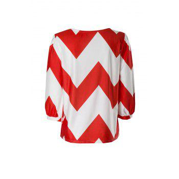 Trendy Chevron Printed 3/4 Sleeve Loose Blouse For Women - RED/WHITE RED/WHITE