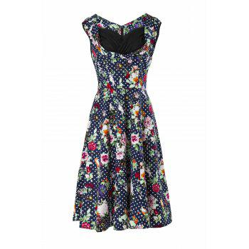 Vintage Sweetheart Neck Sleeveless Ball Gown Flower Pattern Women's Dress