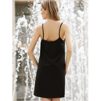 Solid Color Spaghetti Straps All-Match Simple Style Women's Dress - BLACK XS