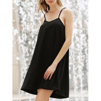 Solid Color Spaghetti Straps All-Match Simple Style Women's Dress - BLACK BLACK