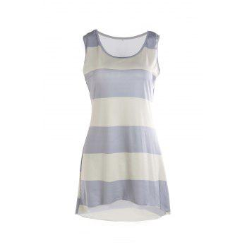 Stylish Scoop Collar Sleeveless Asymmetrical Striped Women's Tank Top