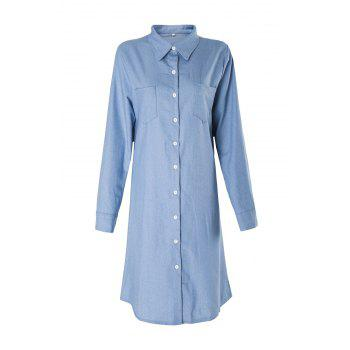 Brief Blue Polo Collar Long Sleeve Denim Blouse For Women - BLUE BLUE