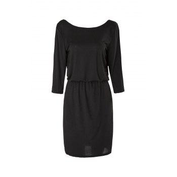 Charming Solid Color Slash Collar 3/4 Sleeve Elastic Waist Dress For Women