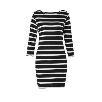 Attractive 3/4 Sleeve Striped Bodycon Mini Dress For Women - BLACK XS