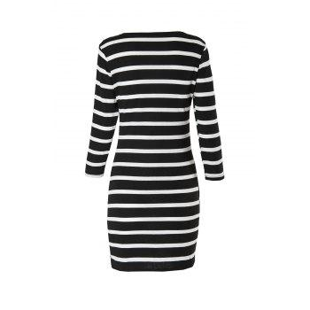 Attractive 3/4 Sleeve Striped Bodycon Mini Dress For Women - XS XS
