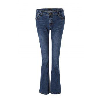 Stylish Mid-Waisted Deep Blue Boot Cut Women's Jeans