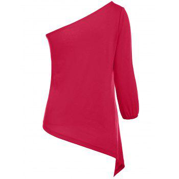 Sexy Women's One Shoulder 3/4 Sleeve Red T-Shirt - RED S