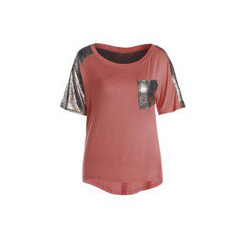 Stylish Round Neck Short Sleeve Spliced Sequined Women's T-Shirt