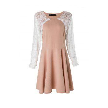 Stylish Round Collar Lace Splicing Plus Size Long Sleeve Women's Dress - PINK XL