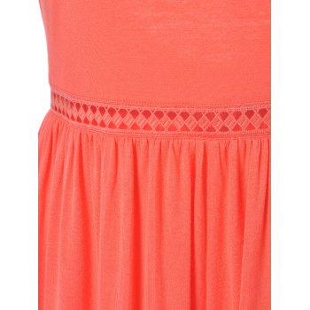 Fashionable Round Collar Back-Out Frenum Siamesed Shorts For Woman - VERMILION VERMILION