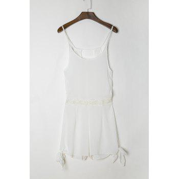 Sexy White Scoop Neck Hollow Out Sleeveless Dress For Women
