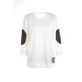 Casual V-Neck Letter Embroidery Long Sleeve Women's T-Shirt