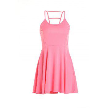 Sexy Spaghetti Strap Sleeveless Cut Out Pure Color Women's Dress