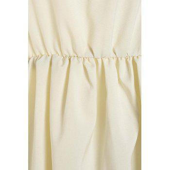 Stylish Flare Sleeve V-Neck Embroidered Chiffon Women's Dress - WHITE M