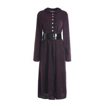 Vintage Women's Turn-Down Collar Long Sleeve A-Line Dress